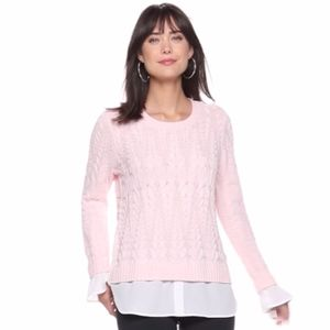 ELLE Pink Cable Knit Mock-Layer Sweater M NWT